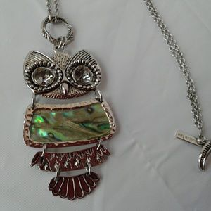 Cookie Lee Owl Necklace Cloisone Silver Toned Long